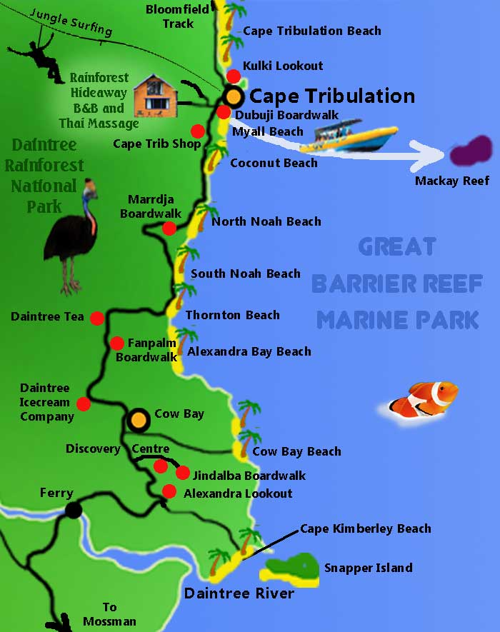 Map Of Australia Port Douglas.Cape Tribulation Map