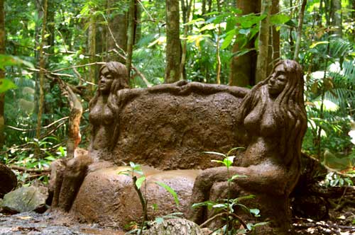cement sculpture art in daintree rainforest