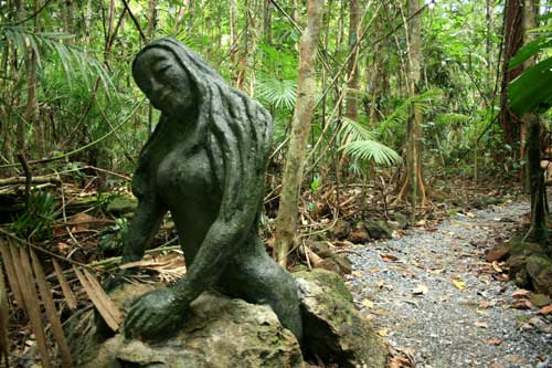 cement sculpture in daintree rainforest
